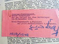 Gerhard Scholtz (1899-1958): Typoskript v. 1939: VORHERSAGE Verlauf 2. Weltkrieg