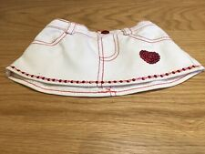 Build A Bear White Denim Skirt With Heart Design In Excellent Condition