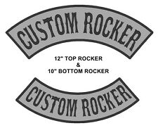 "Custom Embroidered 12"" Top And 10"" Bottom Rocker Vest Biker MC Sew on Patch (B)"