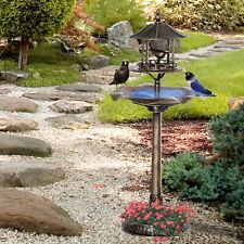 3-in-1 Outdoor Pedestal Bird Bath Garden Décor Feeder Planter Resin Freestanding