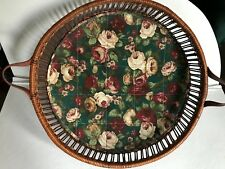 """Large Basket Tray 17"""" Diameter Dark Brown with Strap Handles and Quilted Liner"""