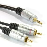 2m Audio 3.5mm Stereo Jack to 2 RCA Phono Plugs Cable Gold