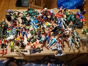 Vintage Mixed HUGE Lot 64Comic Superhero Batman Animated & More Action Figures