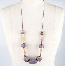 Lange Vintage Kette Halskette große lila Fimo Polymer Perlen Holz Stabperlen