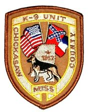 CHICKASAW – K-9 - MISSISSIPPI MS Sheriff Police Patch FLAG CANINE DOG ~