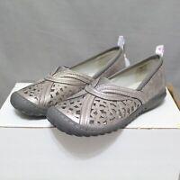 JBU By JAMBU womens slip-on flat PECAN silver shoes size 6 W round toe NEW
