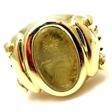 Authentic! Barry Kieselstein Cord 18K Yellow Gold Intaglio Ring