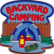 """""""BACKYARD CAMPING"""" - VACATION - FAMILY - TENT - TRIP - Iron On Embroidered Patch"""