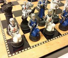 "MEDIEVAL TIMES CRUSADES BLUE WHITE Maltese Warrior CHESS SET 15"" Walnut Color Bd"