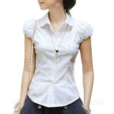 Work Hippie Cap Sleeve Office Button Down Shirt Womens Blouse Top AU Sz 6-14 White 12