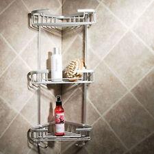 Chrome Corner Bathroom Shower Triple Basket / Shelf - Shampoo & Soap Holder
