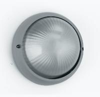 GT Plafoniera Lampada da Esterno BARCELLONA Tonda Alluminio e Vetro SILVER 3072S