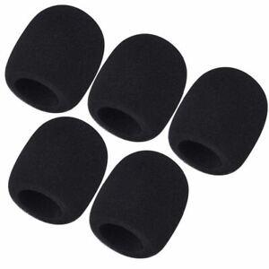 5 Pcs Black Microphone Windscreen Pop Filter Sponge Foam Wind Shield Mic Cover