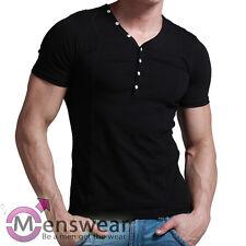 XUBA T-Shirt Shirt Männer Herren Größe S M L XL  Kurzarm Knöpfe Schwarz