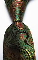 New Classic Paisley Black Green Gold Red JACQUARD WOVEN Silk Men's Tie Necktie