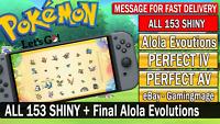 Pokemon Let's GO All 153 Shiny Pokemon Mega Bundle + Alolan Final Evolutions!!