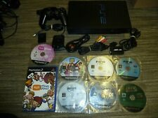 SONY PLAYSTATION 2 PS2 CONSOLE LOT Black 8 Games Controller EyeToy McBoot Memory