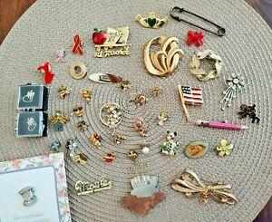 Huge Lot of 40+  Pins Lapel Brooches - Vintage - angels goldtones & more