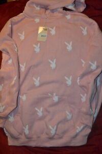 PLAYBOY BUNNY Missguided Logo Bunny Hoodie Sweatshirt Oversized Dress Fleece 14