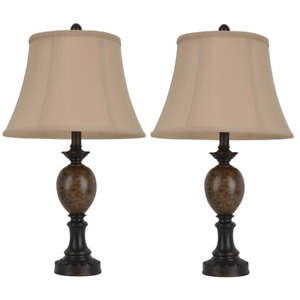 Table Lamp 25 in. 3-Way Rotary Switch Plug-in Bronze Shade Flax Linen (2-Light)