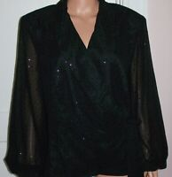 NWT Alex Evenings Womens Black Collared Sheer Sleeve Side Tie Sparkled Jacket 2X