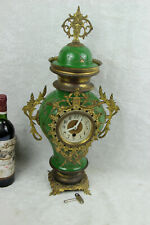 French antique Faience porcelain Green art nouveau clock