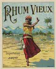"""""""RHUM VIEUX"""" Etiquette-chromo originale JOUNEAU Paris vers 1900"""