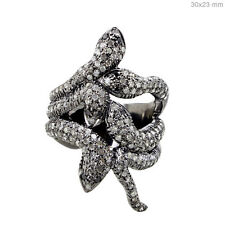 Natural Diamond Pave SNAKE Ring Handmade Sterling Silver HALLOWEEN Jewelry 7 PY
