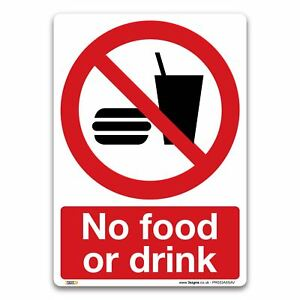No food or drink Sign - Vinyl Sign - Prohibition Safety Information