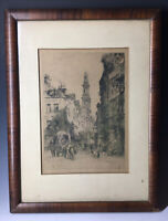 Antique Victorian French Alfred-Louis Brunet-Debaines Strand London City Etching