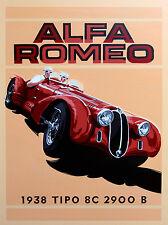 ALFA ROMEO, Retrò Segno di alluminio metallo vintage garage rimessa uomo grotta muro