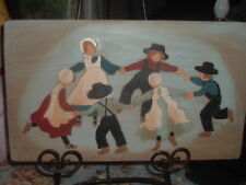 Vintage Amish Children Folk Art AMISH Hand Painted Wood Picture Van Winkle 18""