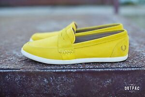 Fred Perry Men's Halstead Suede/Canvas B4233-994 Yellow Loafers Sneakers Slip-On