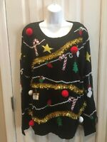 Ugly Christmas Sweater Junior Women Bells Poms Tinsel  Size 3XL/21