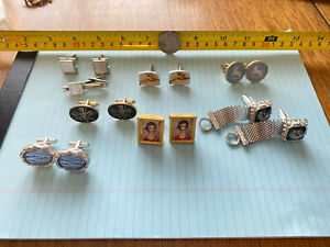 Cufflinks, 6 Pair Gold & Silver Tone, and 1 Set Cuff links and Tie Clasp MOP