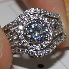Size 8 Diamonique Womens 925 Silver White Sapphire 3-in-1 Wedding Band Ring Set