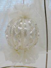 Handmade Christmas Tree Ornament White/White Lace & Organza Bows Vintage Trim