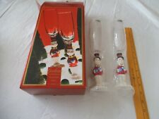 "NIB Gorham ""WINTER FOLLIES"" Crystal Snowman Flute ~ Champagne Glass ~ Set of 2"