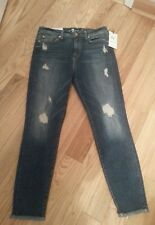 NWT 7 FOR ALL MANKIND Distressed High Waist Super Skinny Ankle Jeans Sz 30-$219