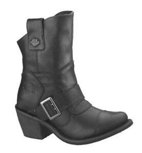 Harley-Davidson 9 Black Leather BOULDER 7-Inch Riding Boots Zipper Heels D88351