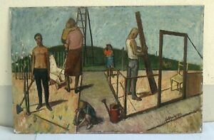 Emil Scheibe (1914-2008), Schrebergarten im Aufbau, 1952, Öl/Hartfaser, 80x120