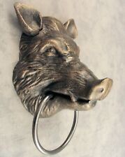 WILD BOAR PIG HOG Cast Iron TOWEL RING Wall Mount ~ Antiqued Gold ~