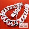 Mens Bracelet Bangle 925 Sterling Silver S/F Solid Heavy Curb Cuban Link 21cm