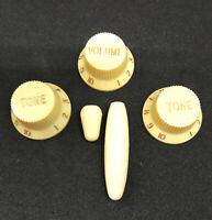 Set Crème Stratocaster : 3 Boutons controle UFO + Tremolo + Switch, US et Metric