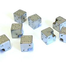 Silver Plastic Dice Bike Cycle Valve Caps Nuts   x 4   (No101)