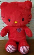 """Build A Bear 18"""" Red And Gingham Hello Kitty Limited Edition Valentine's Plush"""