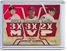 2008 Topps Threads Mickey Mantle Alex Rodriguez Ted Williams 3x MVP Bat # 15/36
