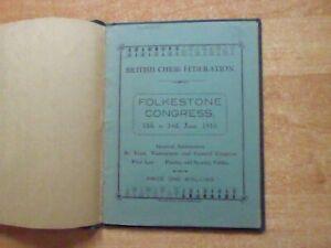 Rar! Folkstone Congress 1933 International Chess Team Tournament Programm geb.