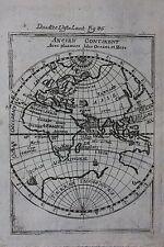 Original antique map WORLD, E. HEMISPHERE, EUROPE, ASIA, AFRICA,  Mallet c.1686