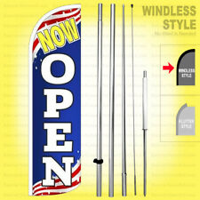 Now Open - Windless Swooper Flag Kit 15' Feather Banner Sign Patriotic bq-h
